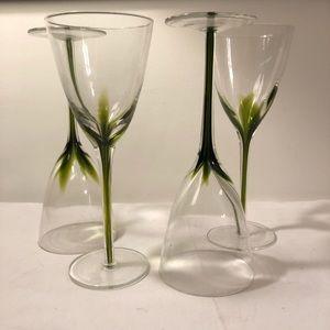 Wine Glasses Stemware Green (4)